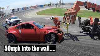 Crashing my 350z at Irwindale Speedway...