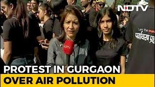 """Wearing Pollution Masks Not The Solution"": Gurgaon Protesters Call For Action"