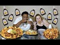 LOADED DOUBLE LAYER BARBEQUE CHICKEN NACHOS MUKBANG!!
