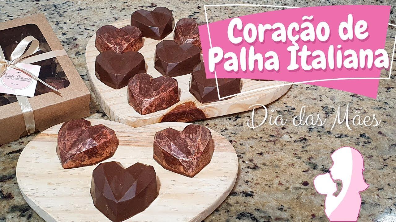 CORAÇÃO DE CHOCOLATE RECHEADO DE PALHA ITALIANA (PRESENTE DIA DAS MÃES)