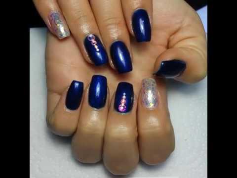 Nails Zwarovsky Blue Nails Unghii Tehnice Albastre Pietre Zwarovski