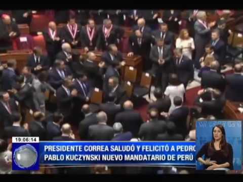 Presidente Rafael Correa saludó y felicitó a Pedro Pablo Kuczynski nuevo mandatario de Perú