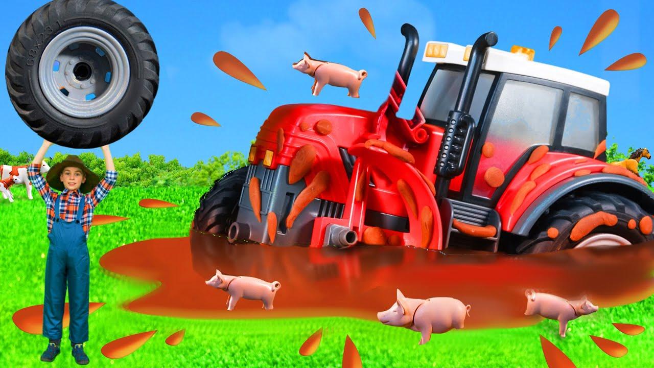 Çocuklar için hikaye - Traktör ve ekskavatör oyuncak arabalarla oynuyorlar - Tractor toys for kids