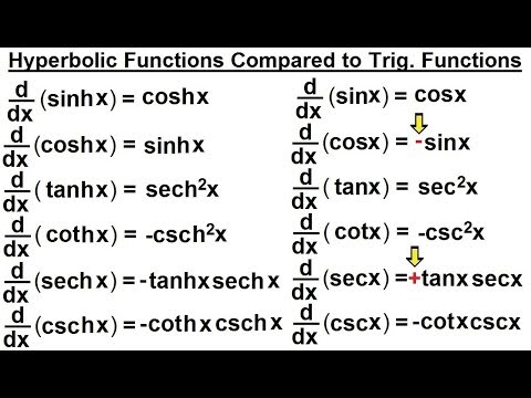 Calculus 2 Hyperbolic Functions (26 of 57) Derivative of Hyperbolic