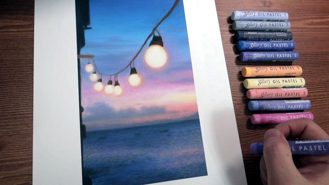 불 켜진 저녁바다, The lighted evening sea|Oil Pastel Drawing by Ohu Sia