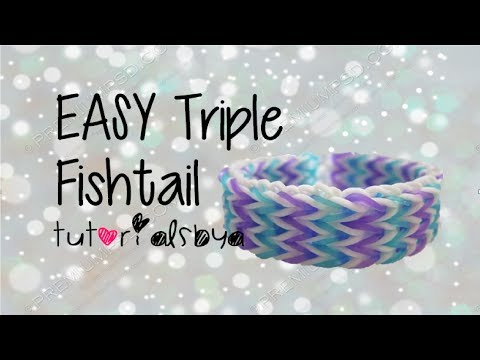 {OLD VIDEO} EASY VERSION (ADVANCED LEVEL) Triple Fishtail Rainbow Loom Bracelet Tutorial Travel Video