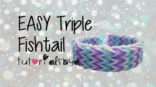 EASY VERSION (ADVANCED LEVEL) Triple Fishtail Rainbow Loom Bracelet Tutorial