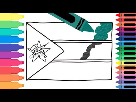 How to Draw a Mozambique Flag - Coloring Pages for kids - Draw the Mozambican Flag | Tanimated Toys