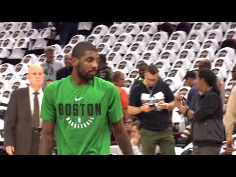 Kyrie Irving comes onto the court at Quicken Loans arena as a member of the Boston Celtics