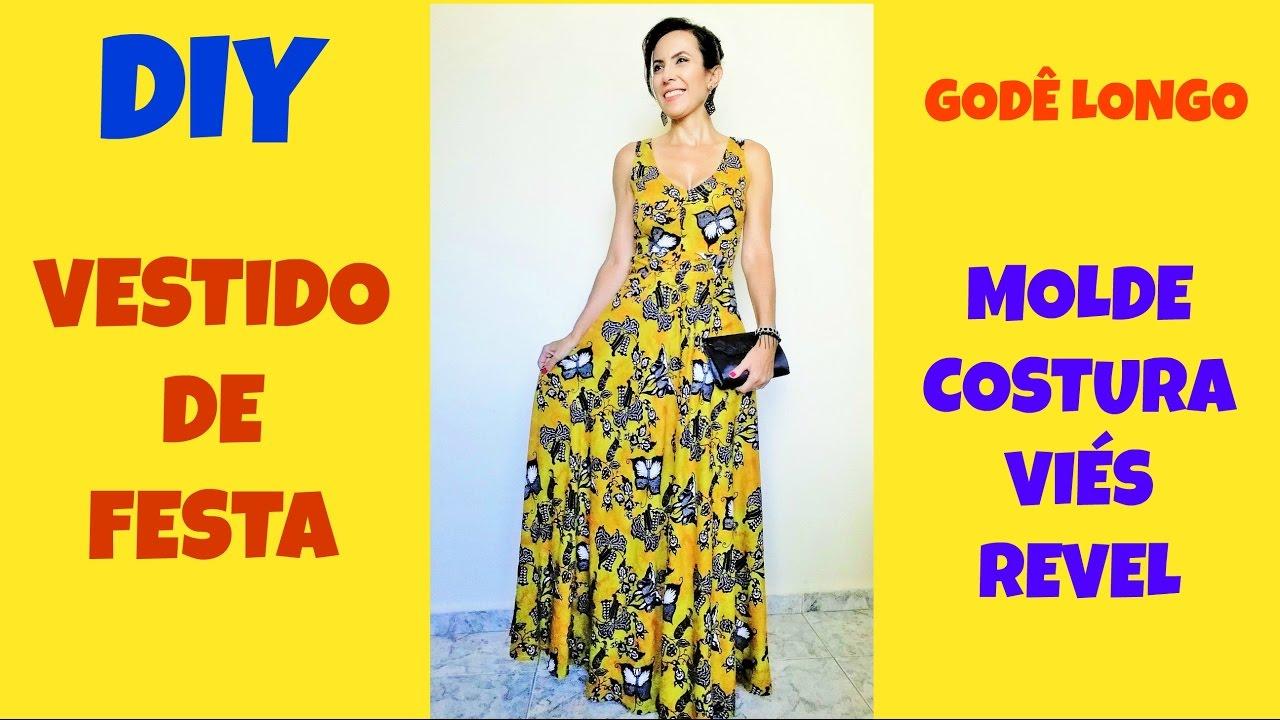f9a23387d9 Vestido de festa - godê longo - molde e costura viés e revel - YouTube