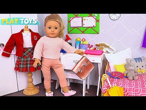 American Girl Doll School Evening Routine 🎀 Play Baby Doll Bedroom Toys!