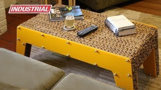 Cardboard Coffee Table CNC Project Using ZrN Honeycomb and Plastic Amana Tool Industrial Router Bits