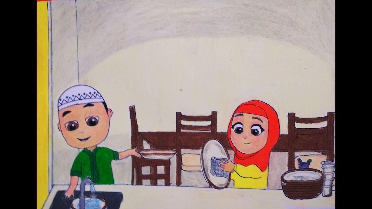 Menggambar Nussa Dan Rara Dan Mewarnai Dengan Crayon Nussa Official Nussa Rara Nusa Tak Bisa Balas Youtube