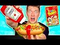 WEIRD Food Combinations People LOVE!! *HOT DOG & FRUITY PEBBLES* Eating Funky Gross DIY Candy Foods