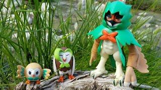 Pokémon Figure Review:  Decidueye, Dartrix, and Rowlet evolution box set