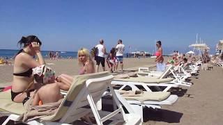На пляже в отеле GrandPark Lara 5* Анталья Турция июнь 2017