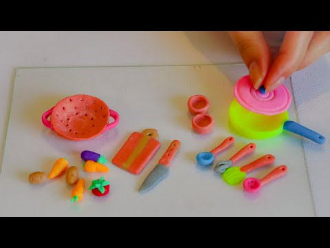 Miniature polymer clay kitchen set and vegetables| Easy to do