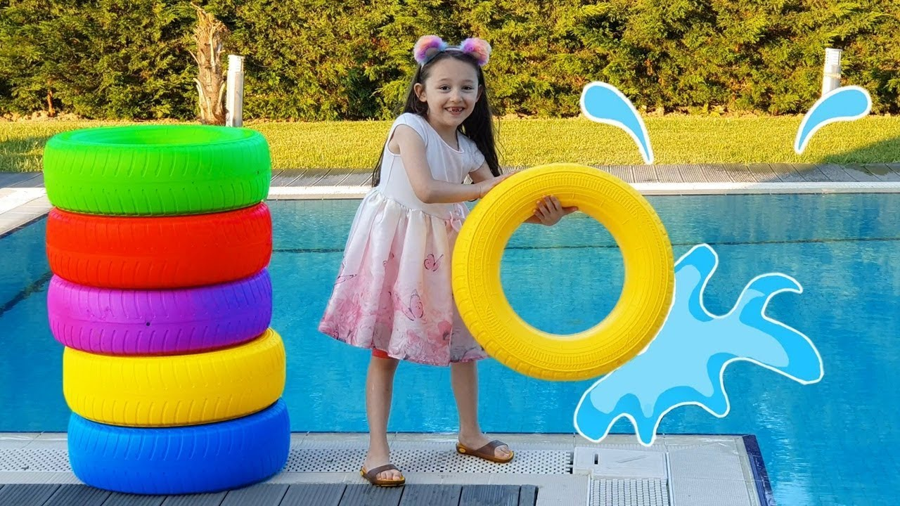Download Öykü changes the Color of the pool and has so much fun kid video