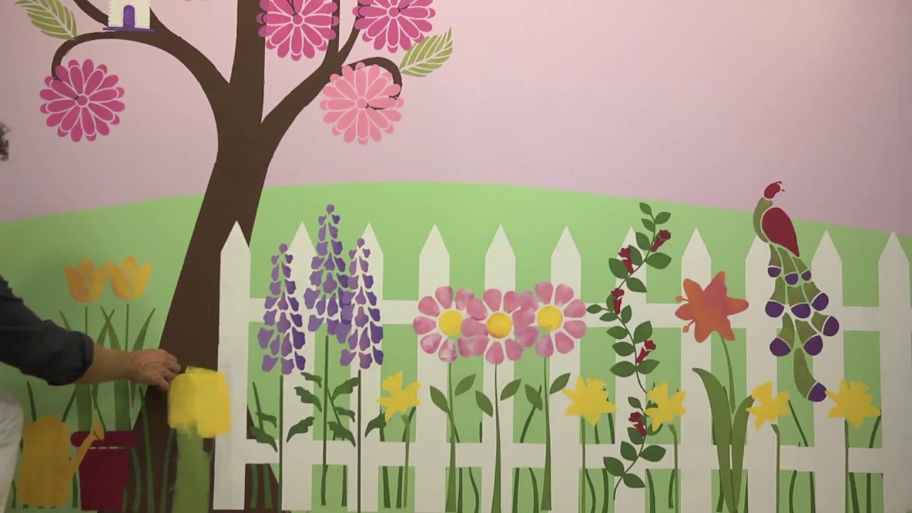 Girls Room Flower Garden Makeover Wall Stencils