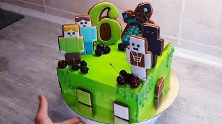 Торт Майнкрафт выравниавем и украшаем квадратный торт