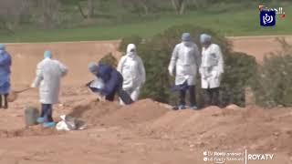 جثمان السيدة المتوفاة بفيروس كورونا يوارى الثرى في مثواه الأخير 28/3/2020