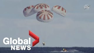 "SpaceX Dragon capsule's ""picture perfect"" Atlantic splashdown"