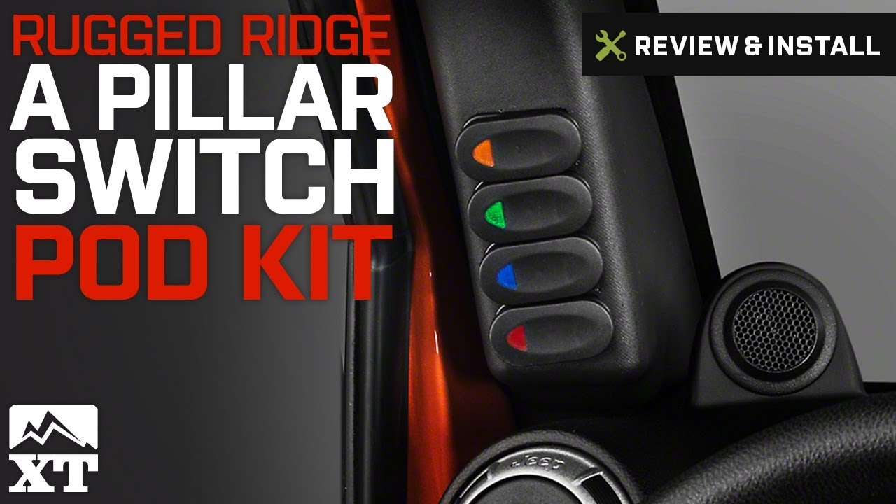 rugged ridge jeep wrangler black a pillar switch pod w 4 rocker switches left hand drive 17235 86 07 10 jeep wrangler jk  [ 1280 x 720 Pixel ]