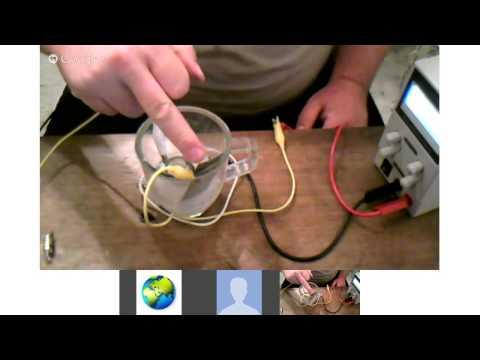 Nickel Zinc accumulator testing Google Hangout Videochat