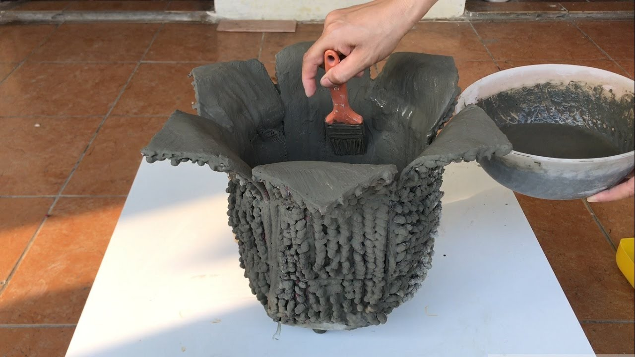 DIY - Cement Craft Ideas - Turn Rags Into Beautiful And Unique Flower Pots
