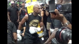 FLOYD MAYWEATHER BREAKS OFF TO DANCE IN MIDDLE OF SMASHING THE HEAVYBAG / MAYWEATHER v McGREGOR