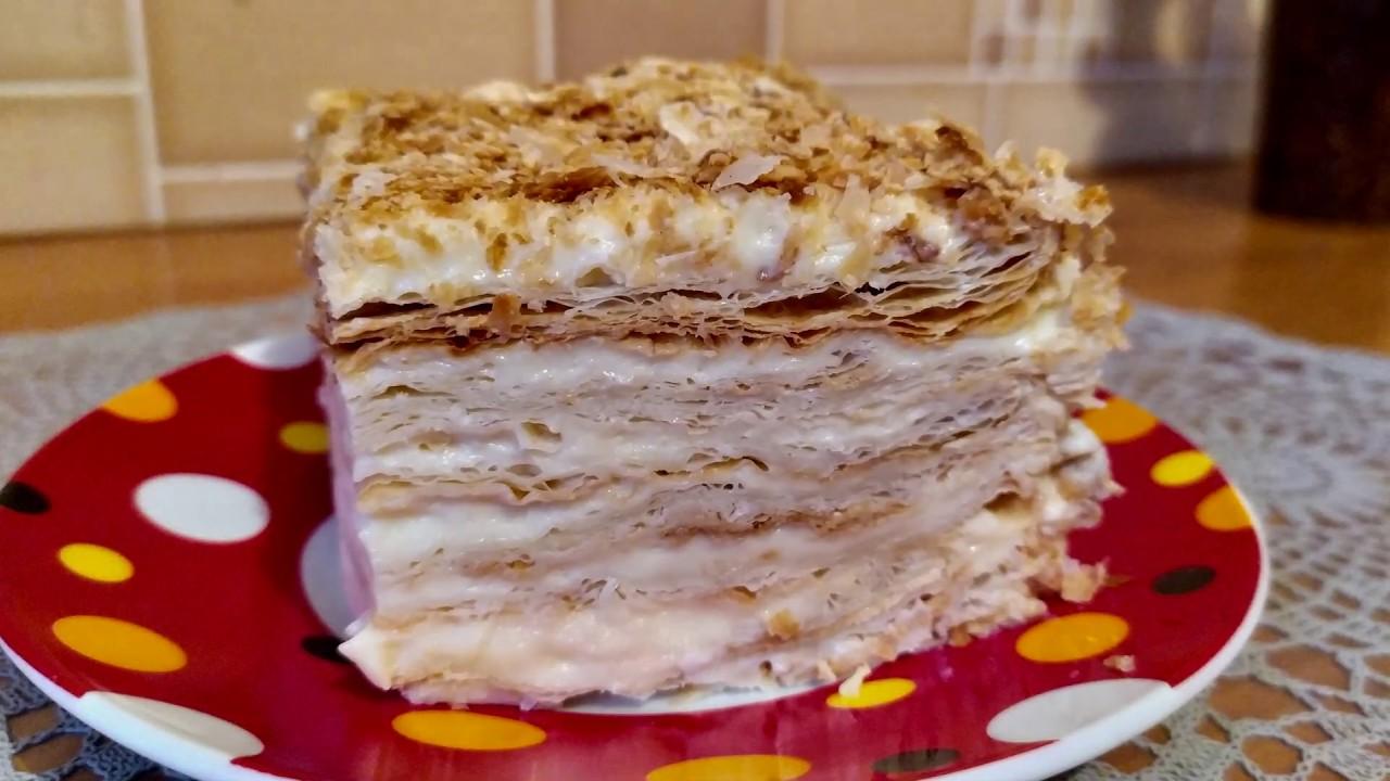 Торт Наполеон из готового слоеного теста. С заварным кремом. Быстро, Легко и Вкусно.