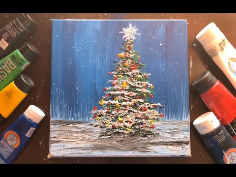How to paint Christmas tree landscape | Acrylic Painting | Fan Brush Technique | Step by Step #136
