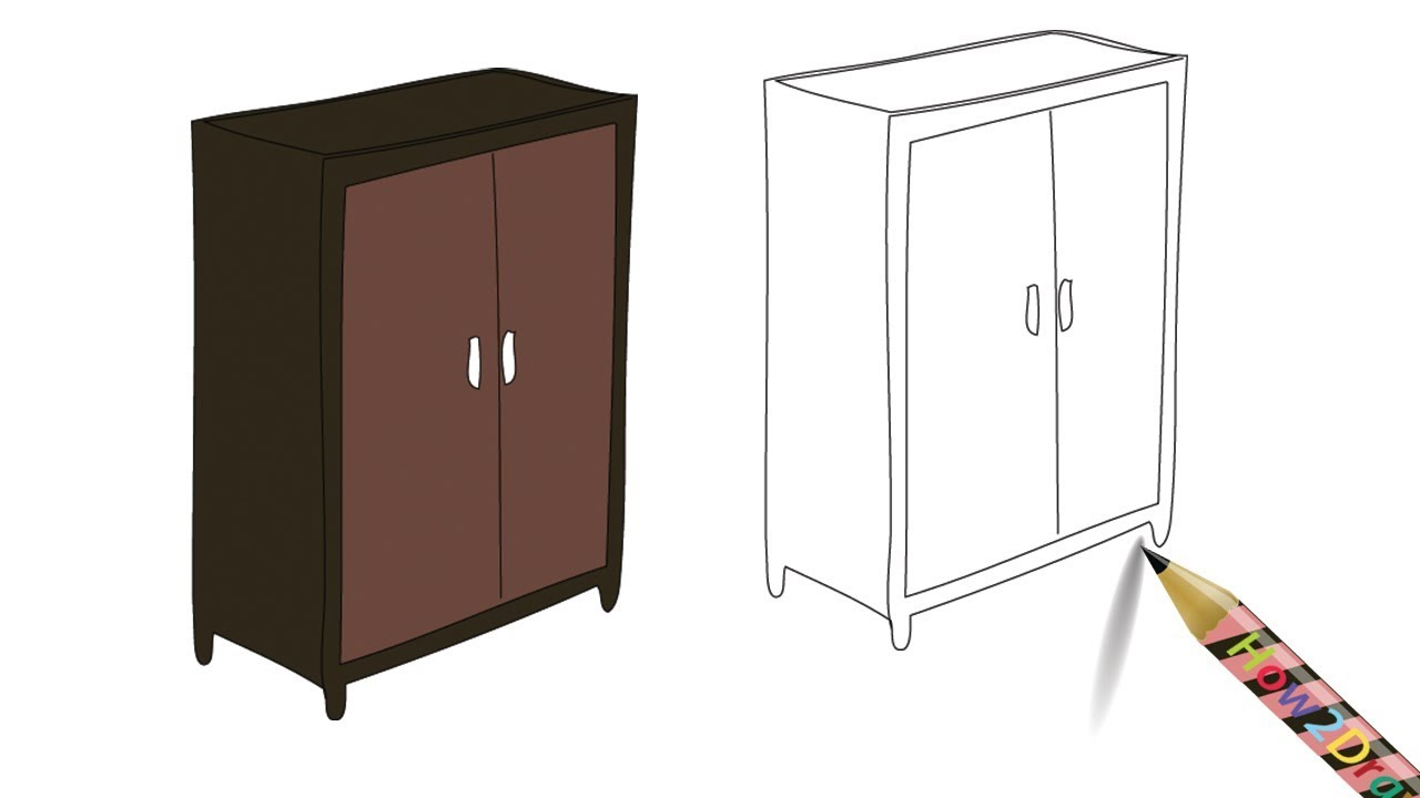 release date: 53c64 4516e How to Draw a Wardrobe Almirah Furniture Drawing – Coloring Page