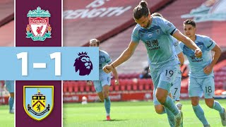The clarets are first team to take a point away from anfield this season thanks jay rodriguez's second-half strike.