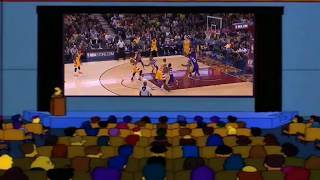 Homer Simpson  laughs at dangelo russell getting hit in the groin