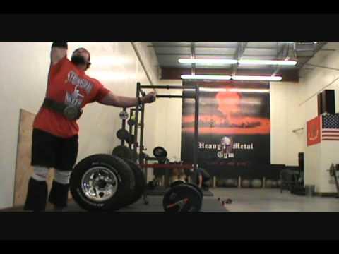 Heavy Metal Gym Alaska... 190# Monster Dumbbell press
