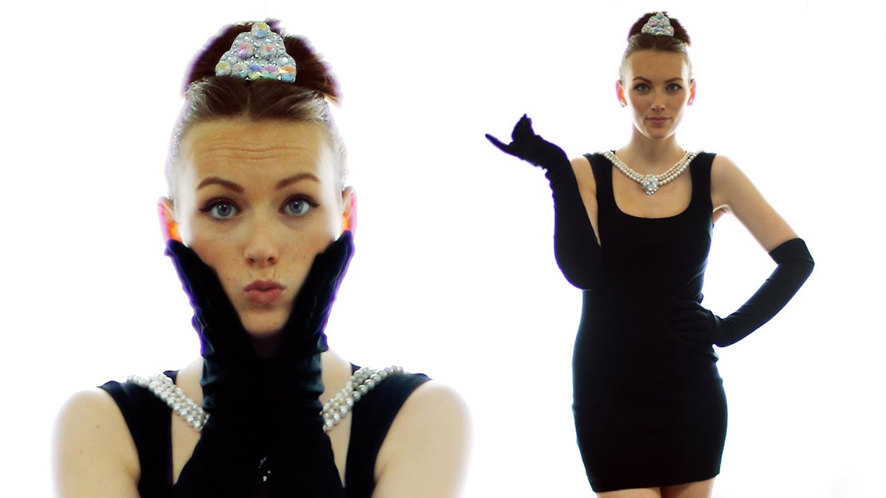diy audrey hepburn halloween costume youtube. Black Bedroom Furniture Sets. Home Design Ideas