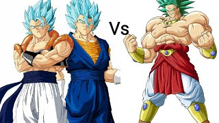 Super Saiyan God Vegito and Gogeta vs Super Saiyan God Broly