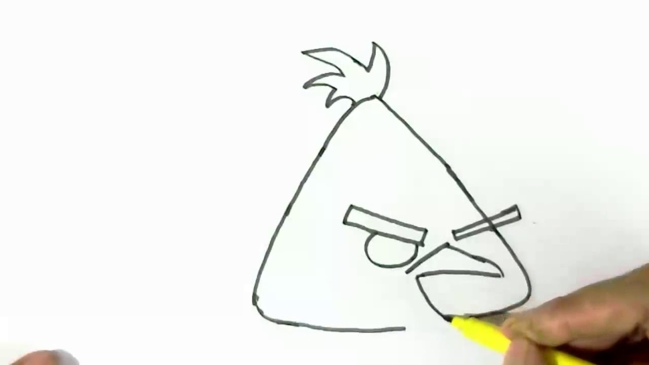 How to draw chuck the yellow bird from angry birds easy steps for children kids beginners