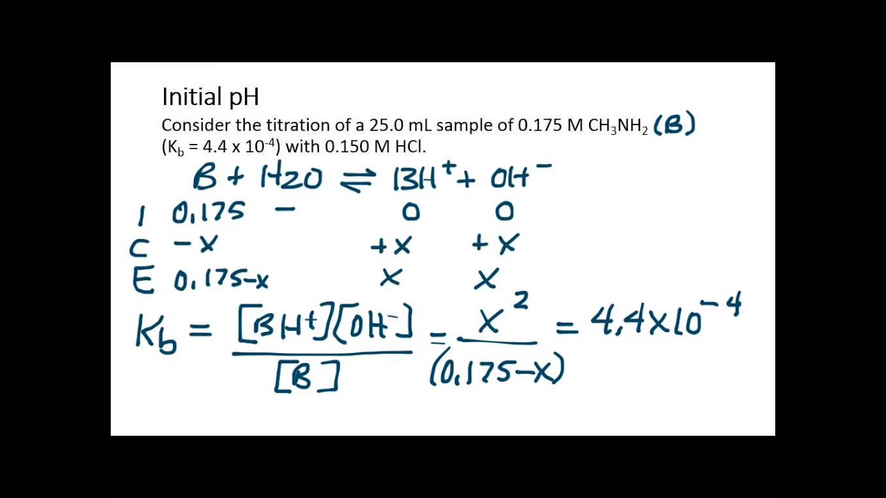 Calculations For Titration Of Weak Base With Strong Acid Initial Ph Youtube