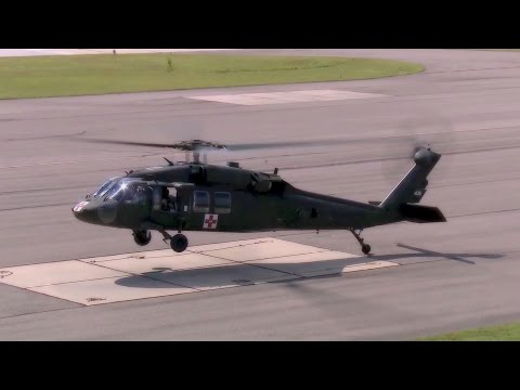 US Military Helicopters Taking Off and Landing from Medical Evacuation Missions
