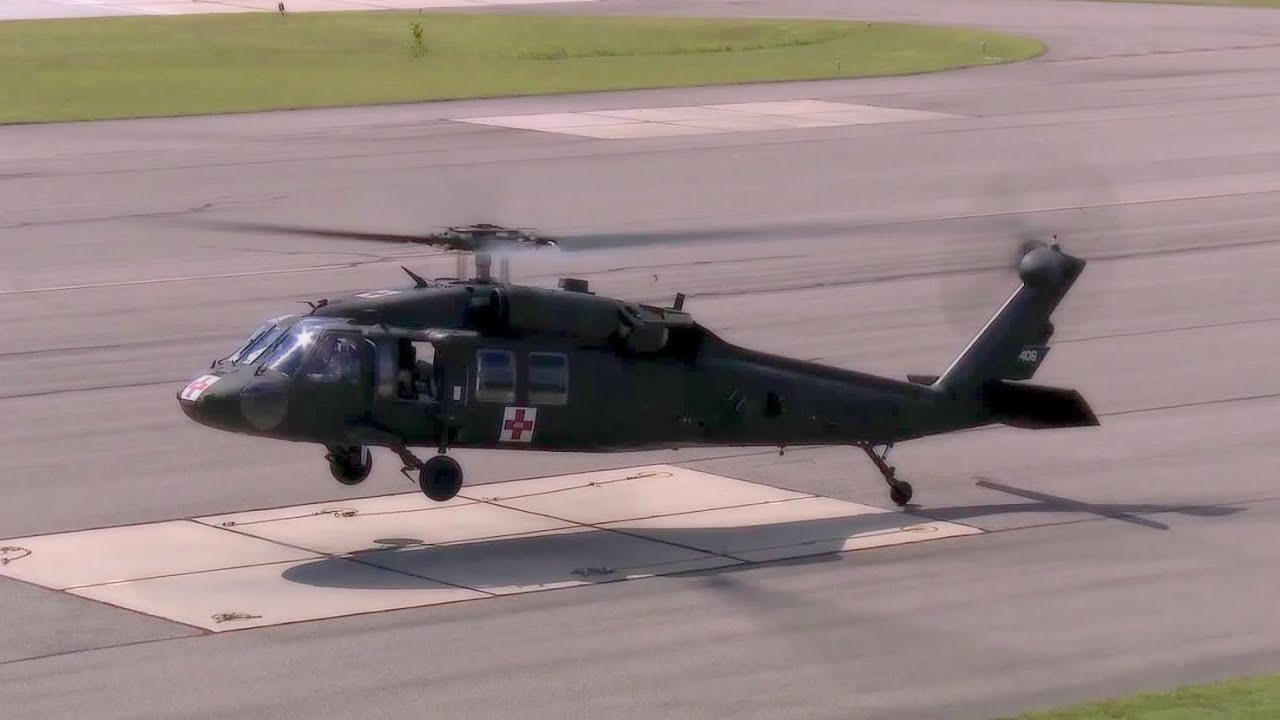 Us Military Helicopters Taking Off And Landing From Medical Evacuation Missions Youtube