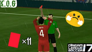 😧What Happened!!! All Players Getting A Red Card In Dream League Soccer 17.😯