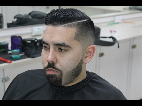 blended beard bald fade combover with hard part youtube