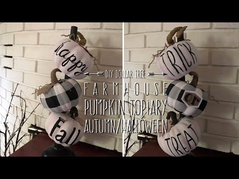 DIY Dollar Tree  Farmhouse  Pumpkin Topiary Autumn-Halloween