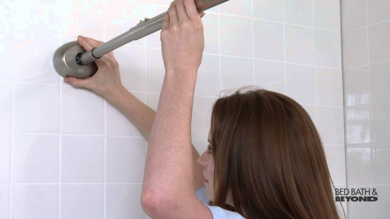 the gripper easy install adjustable curved shower rod at bed bath beyond