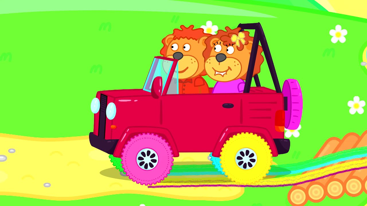 The Wheels on the Bus   Lion Family   Cartoon for Kids