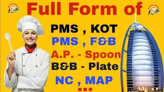 What is full form of Hotel PMS , F&B , AP spoon , B&B , MAP , EP , NC , KOT 🍽| #Hotel_Management |