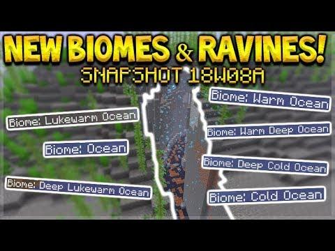 Minecraft 1.13 - 10 NEW Ocean Biomes & Underwater Ravines/Caves (Snapshot 18W08A)