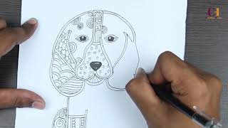 DRAWING DOG - AMAZING SKILL OF DRAWING. How to draw dog beautifully.